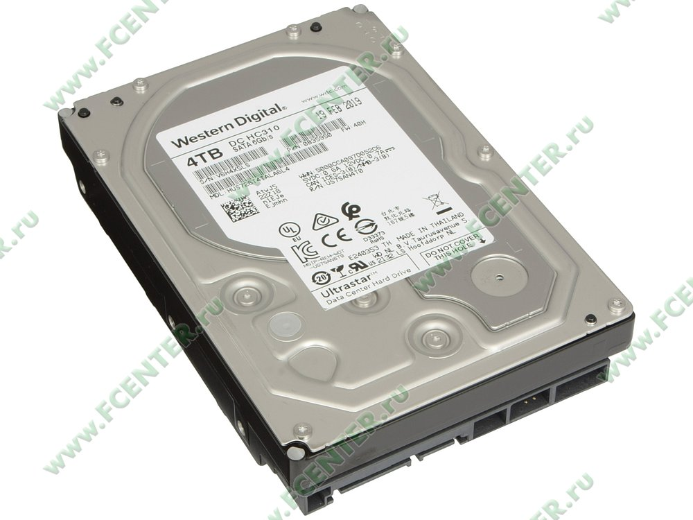 "Жесткий диск 4ТБ Western Digital ""Ultrastar DC HC310"" (SATA III). Вид спереди."