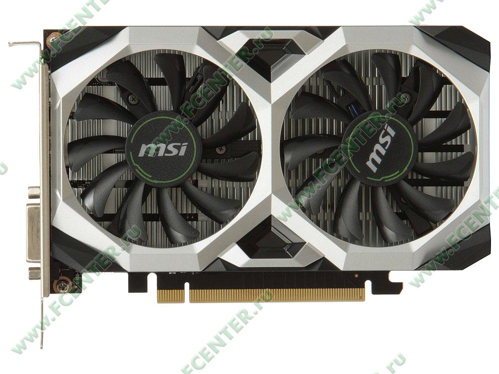 "Видеокарта MSI ""GeForce GTX 1650 VENTUS XS 4G OC 4ГБ"". Вид сверху."