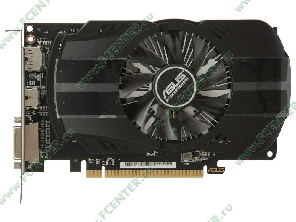 """Видеокарта ASUS """"Radeon RX 550 4ГБ"""" PH-RX550-4G-M7. Вид сверху."""