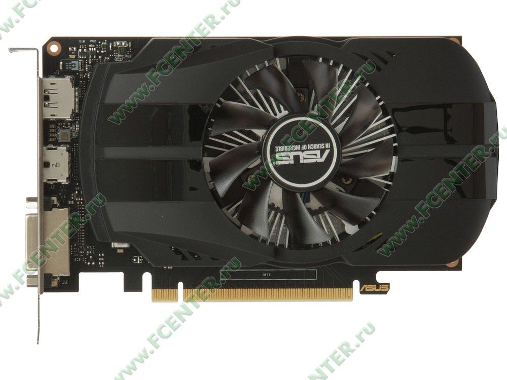"Видеокарта ASUS ""GeForce GTX 1650 4ГБ"" PH-GTX1650-4G. Вид сверху."