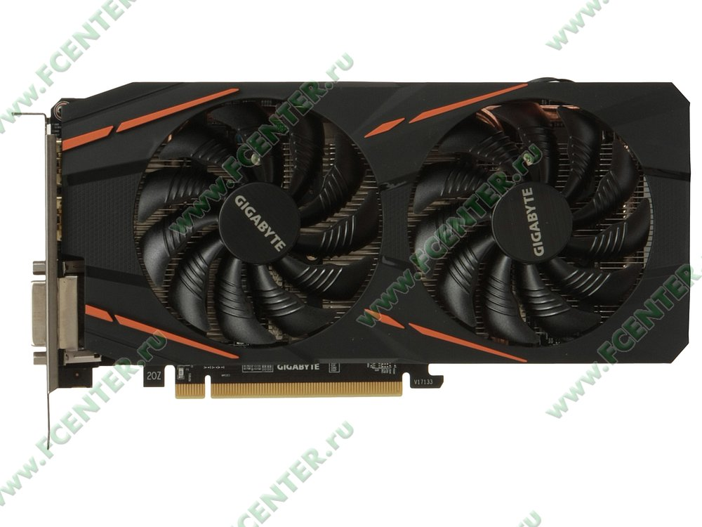 "Видеокарта GIGABYTE ""Radeon RX 590 GAMING 8G 8ГБ"" GV-RX590GAMING-8GD. Вид сверху."
