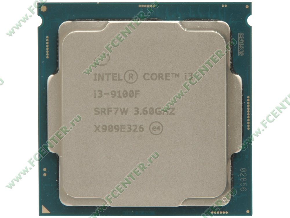 "Процессор Intel ""Core i3-9100F"" Socket1151. Вид сверху."