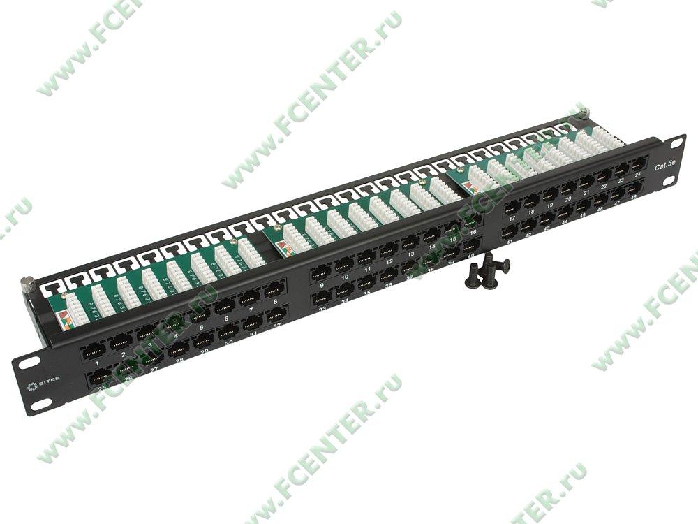 """Патч-панель 19"""" RM 48 портов RJ-45 5E кат. 5bites. Вид спереди."""