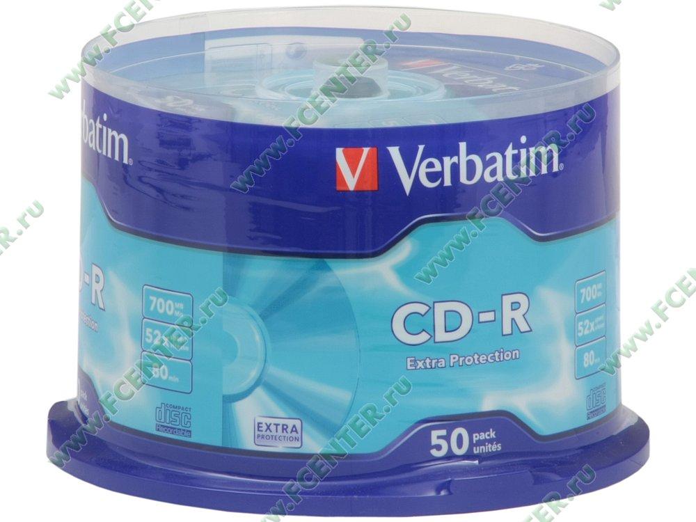 """Диск CD-R 700МБ 52x Verbatim """"43351"""" (50шт./уп.). Коробка 1."""