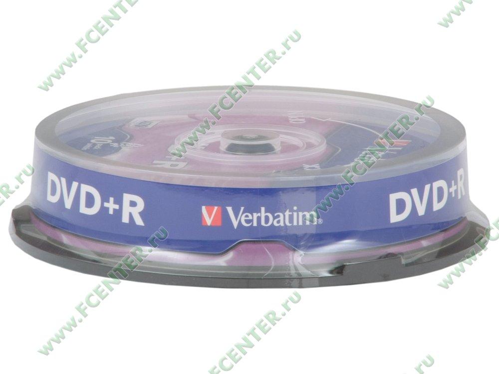 """Диск DVD+R 4.7ГБ 16x Verbatim """"43498"""" (10шт./уп.). Коробка 1."""