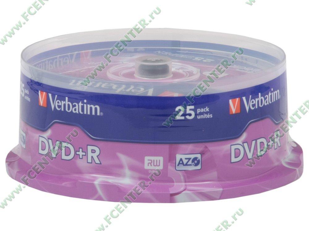 """Диск DVD+R 4.7ГБ 16x Verbatim """"43500"""" (25шт./уп.). Коробка 1."""