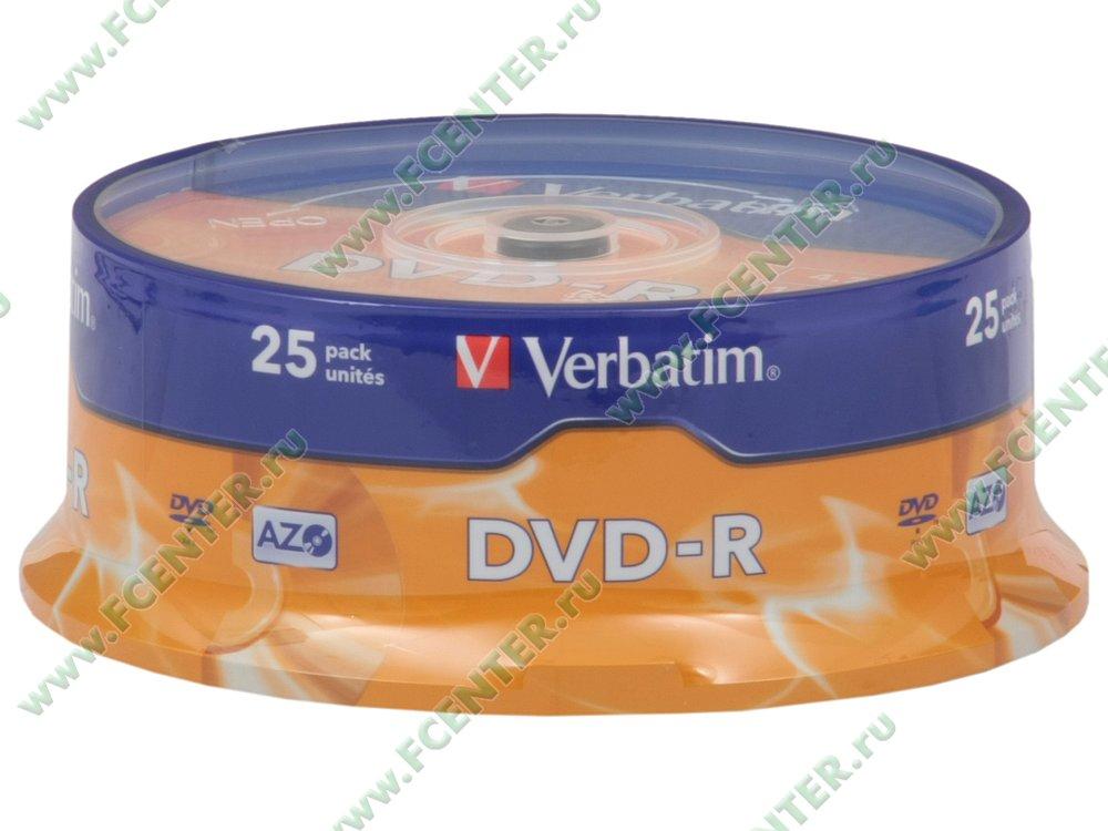 """Диск DVD-R 4.7ГБ 16x Verbatim """"43522"""" (25шт./уп.). Коробка 1."""