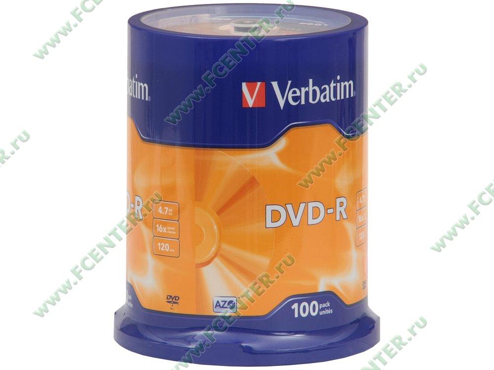 """Диск DVD-R 4.7ГБ 16x Verbatim """"43549"""" (100шт./уп.). Коробка 1."""