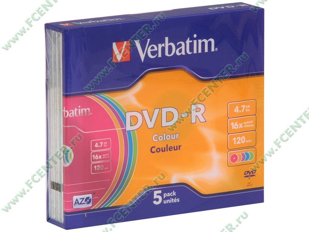 """Диск DVD-R 4.7ГБ 16x Verbatim """"43557"""" (5шт./уп.). Коробка."""
