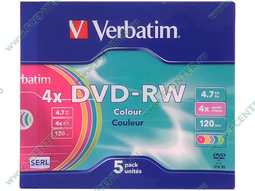 """Диск DVD-RW 4.7ГБ 4x Verbatim """"43563"""" (5шт./уп.). Коробка 1."""