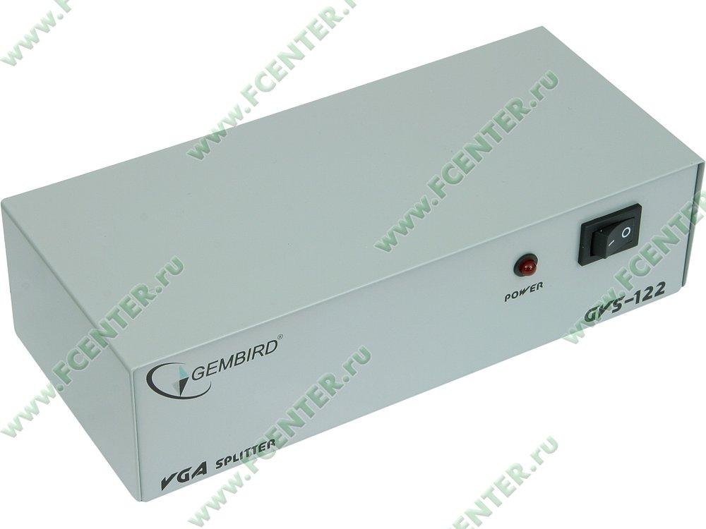 """Разветвитель VGA 1 ПК - 2 монитора Gembird """"GVS122"""". Вид спереди."""
