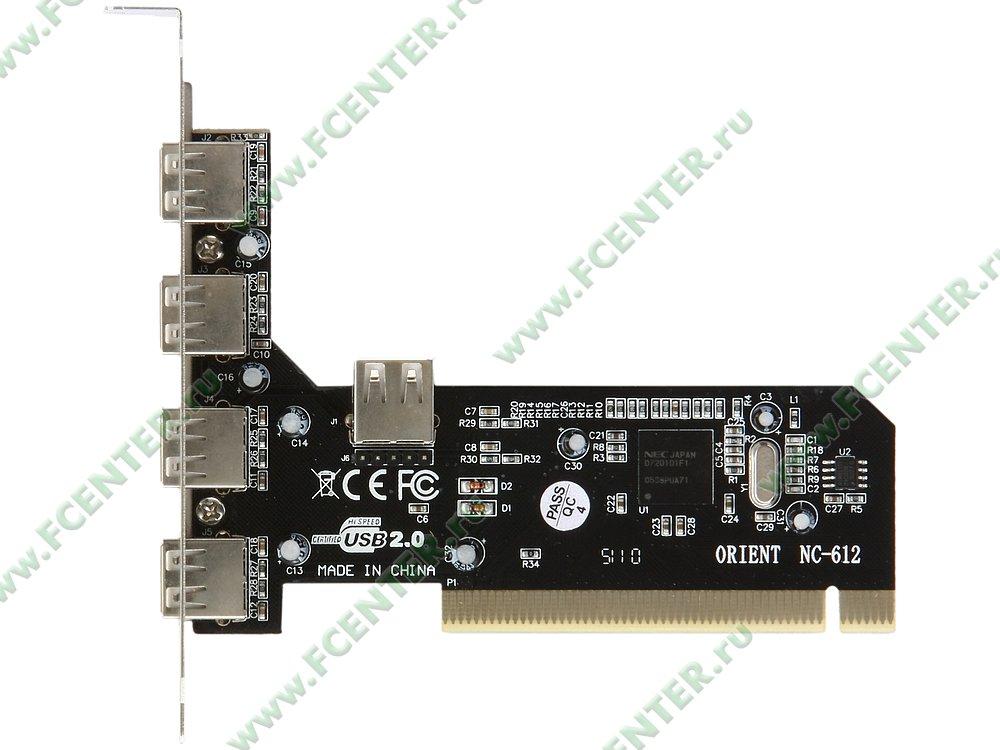 "Контроллер USB2.0 ORIENT ""NC-612"" (PCI). Вид сверху."