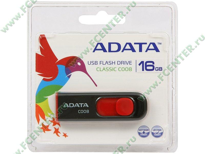 """Накопитель USB flash Накопитель USB flash 16ГБ ADATA """"Classic C008"""" AC008-16G-RKD, черно-красный . Коробка."""