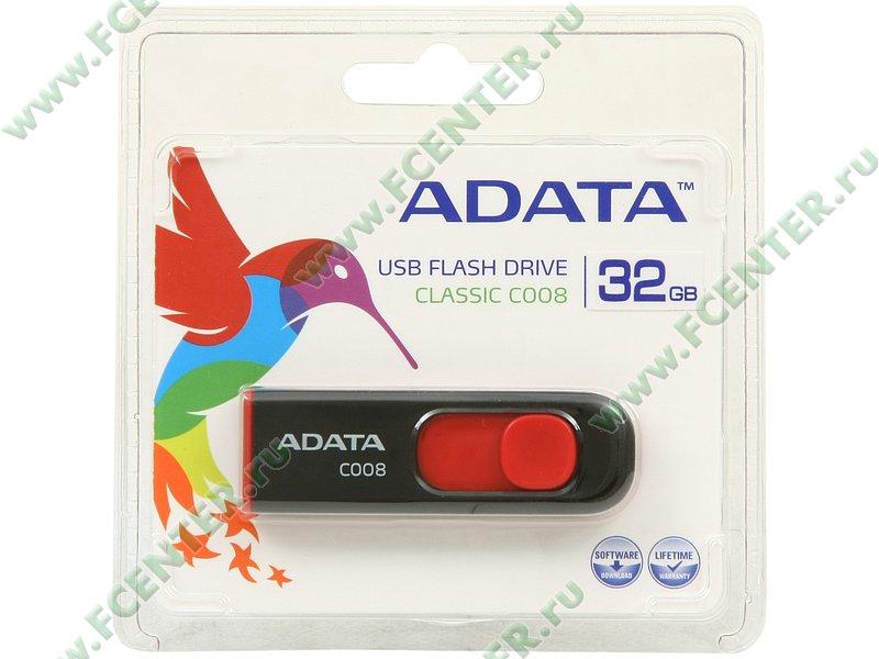 """Накопитель USB flash Накопитель USB flash 32ГБ ADATA """"Classic C008"""" AC008-32G-RKD, черно-красный . Коробка."""