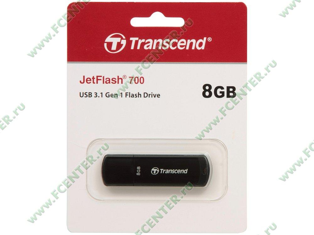 """Накопитель USB flash 8ГБ Transcend """"JetFlash 700"""" (USB3.0). Коробка 1."""
