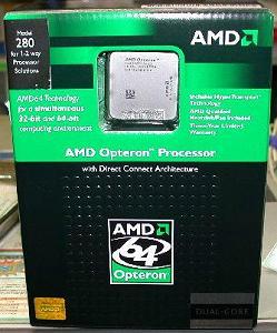 Opteron 280 (два ядра, 2.4 ГГц, 1 МБ x 2 кэш L2, TDP 95 Вт, Socket 940)