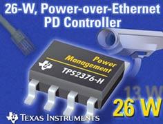 Питание по Ethernet теперь до 26 Вт с помощью нового PoE-контроллера TI
