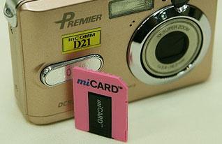 miCARD в переходнике: чёрное на розовом