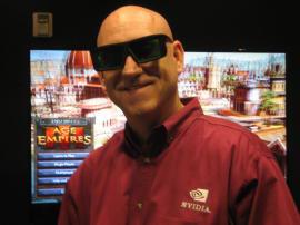 Разработчик NVIDIA в стереоочках на фоне объёмной Империи