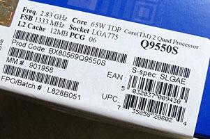 Этикетка с коробки модели Intel Q9550S