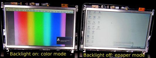 Многорежимный дисплей: цветной режим — с включенной подсветкой, монохромный — с выключенной