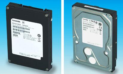 Новые накопители Toshiba: слева SSD, справа HDD