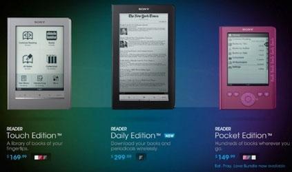 Электронная «витрина» электронных книг Sony