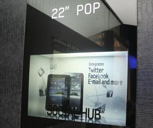 Передняя стенка «аквариума с планшетом» — полупрозрачная 22-дюймовая ЖК-панель
