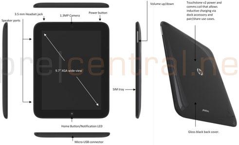 Габаритные размеры планшета HP Topaz и расположение органов управления