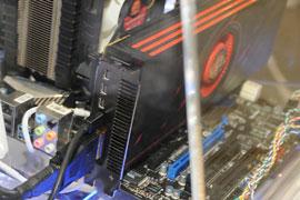 Стенд с видеокартой MSI R6990-4PD4GD5