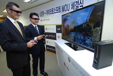 Прошлогодняя демонстрация работы Xbox 360 в паре со стереоскопическими телевизорами LG