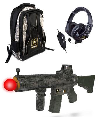 Макеты оружия для подвижных игр перед экраном телевизора