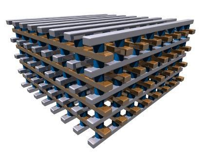 Многослойная конструкция микросхемы ReRAM (практически испытана трёхслойная комбинация)