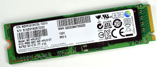 SSD Samsung серии XP941 (шина PCIe, формфактор M.2)