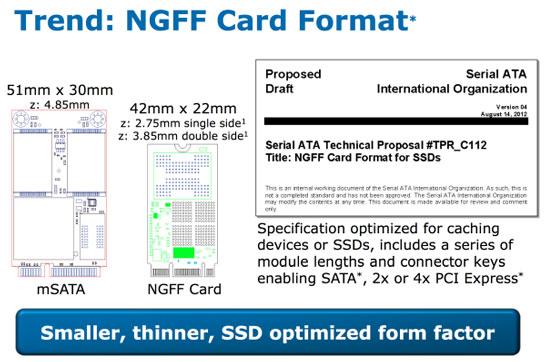 По замыслу Intel, NGFF-диски будут меньше накопителей mSATA