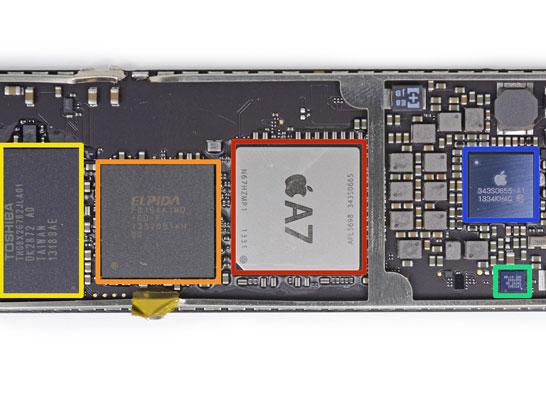 Фотография процессора Apple A7 в версии для планшета (без POP-паковки памяти)