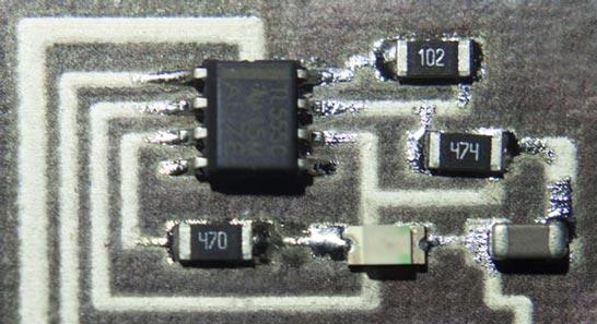 Пример монтажной платы, отпечатанной на принтере EX1