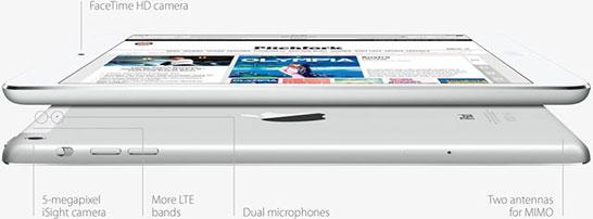 Планшет Apple iPad mini (7,9 дюймов). Профиль и расположение портов.