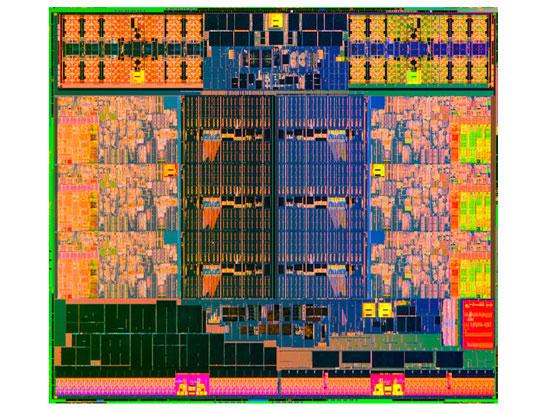 Изображение кристалла 6-ядерного процессора поколения Intel Ivy Bridge-E