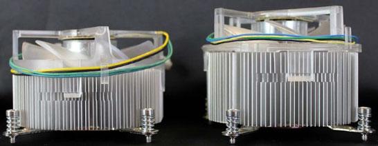 Сравнение старого и нового охладителя по высоте (новая модель справа)