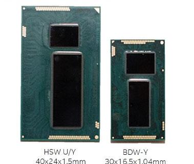 Сравнительные размеры подложек и кристаллов процессоров Haswell-Y и Broadwell-Y