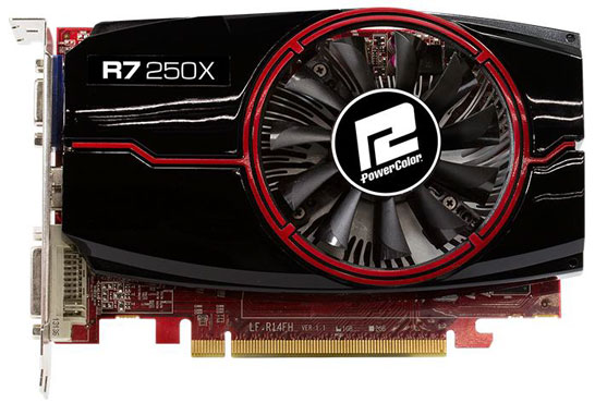 Видеокарта на процессоре AMD Radeon R7 250X компании PowerColor