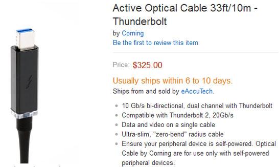 10-метровый кабель для интерфейса Thunderbolt (производитель компания Corning)