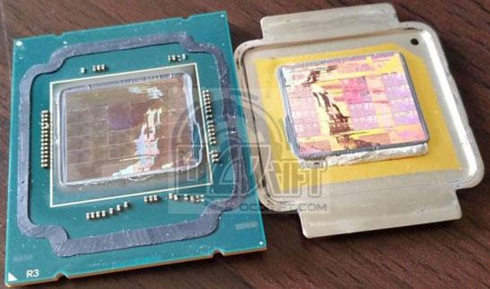 Процессор Intel Core i7-5960X со снятой теплорассеивающей крышкой