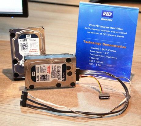 Демонстрационный образец гибридного накопителя WD с шиной SATA Express
