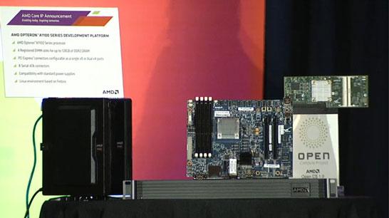 Демонстрационный стенд и платы с процессорами AMD Opteron A1100 на архитектуре ARM (кодовое имя Seattle)