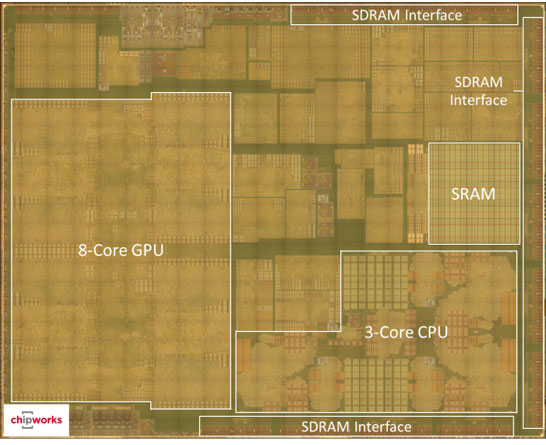 Снимок кристалла прикладного процессора Apple A8X (Фотография Chipworks)