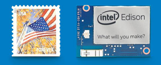 Размеры платы компьютера Intel Edison составляют 35,5 x 25 x 3,9 миллиметра