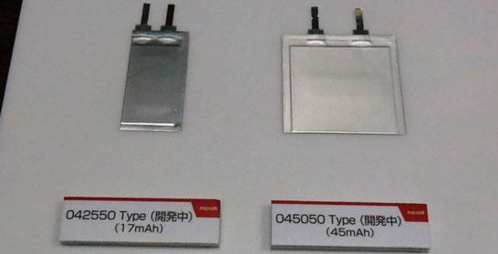 Обычные бескорпусные литиево-ионные аккумуляторы Hitachi Maxell, но их ёмкости «легко» могут быть удвоены с помощью пары новых технологий