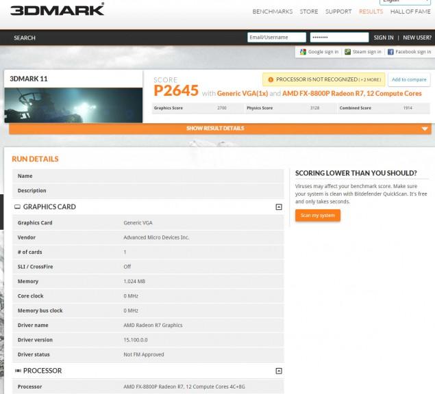 Результат неофициального тестирования APU AMD FX-8800P
